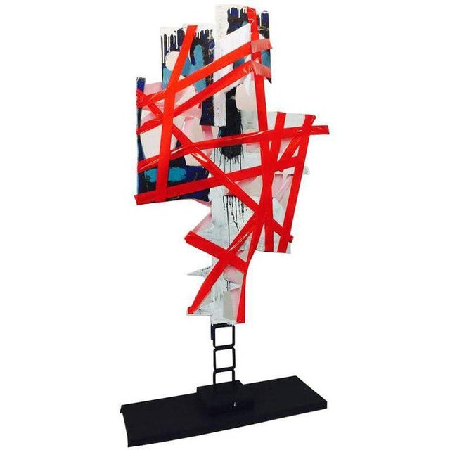 """""""No Words"""" - steel sculpture and plastic - 75"""" x 35"""" x 20"""" inches. Signed on Base BK ADAMS. I AM ART b. 1972, Washington,..."""
