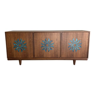1960s Mid Century Walnut Cal Mode Credenza For Sale