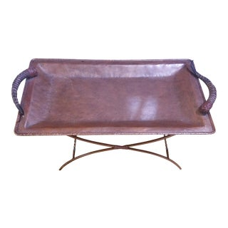 Vintage Campaign Style Springbok Horns Hammered Metal Tray Table