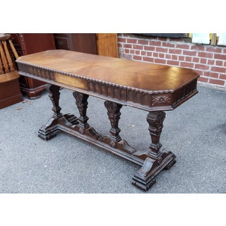 Antique Early 20th Century Walnut Johnson-Handley-Johnson Walnut Library Console Table Preview