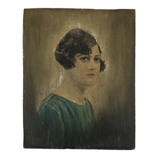 Vintage Female Portrait Painting on Board, 1930s For Sale