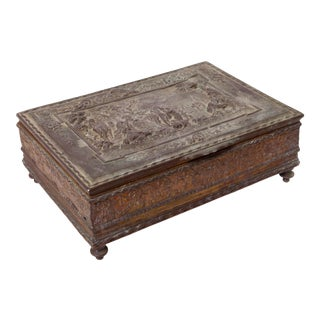 Antique Aged Metal Accessory Box For Sale