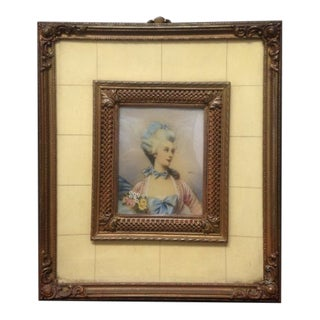 Vintage Mid-Century Miniature Portrait of Woman Framed Painting For Sale