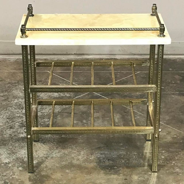 Mid-Century Brass & Marble Wine Serving Table For Sale - Image 10 of 11