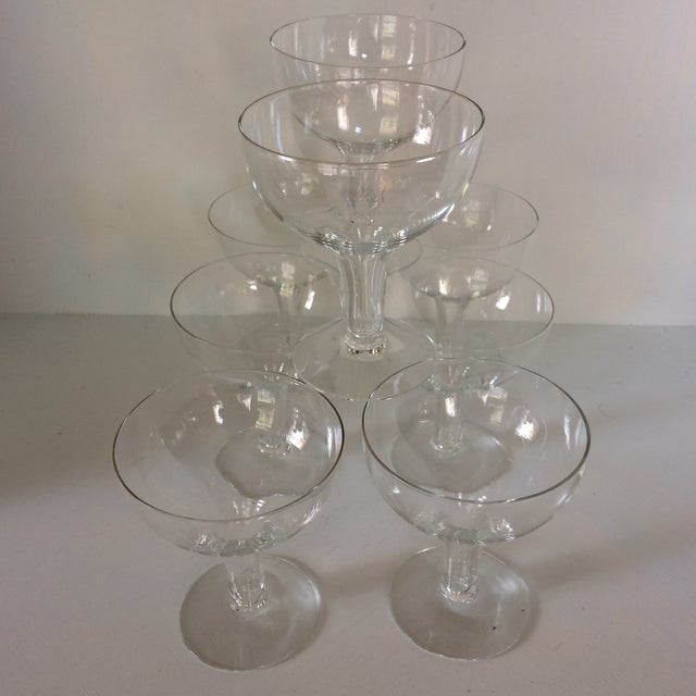 Vintage Italian Half Sphere Hollow Stem Crystal Champagne Glasses - Set of 8 For Sale - Image 11 of 13