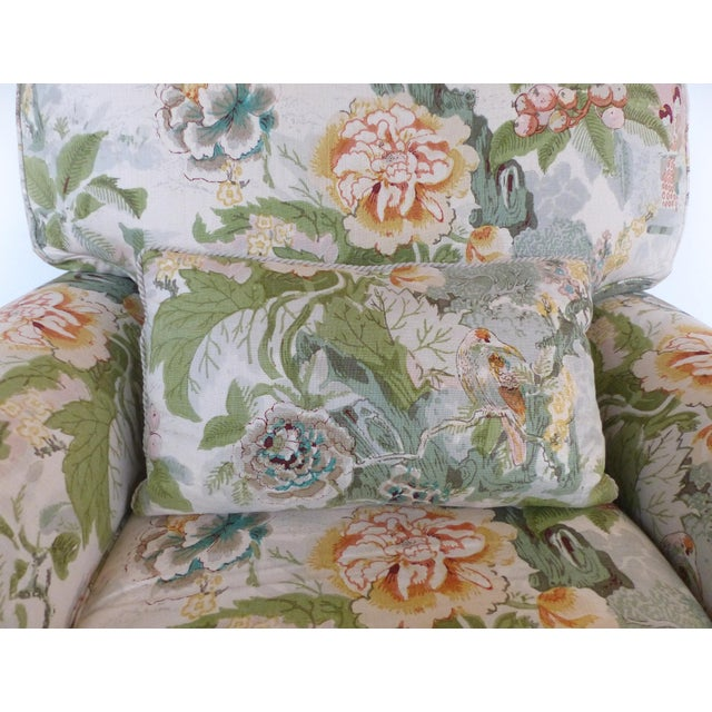 Linen Overscale Pair of Chinoiserie Upholstered Club Chairs With Down Cushions For Sale - Image 7 of 12