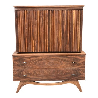 Eight Drawer Mid Century Highboy in Walnut For Sale
