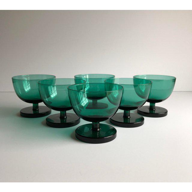 Emerald Green Coupes, Set of 6 For Sale - Image 4 of 5