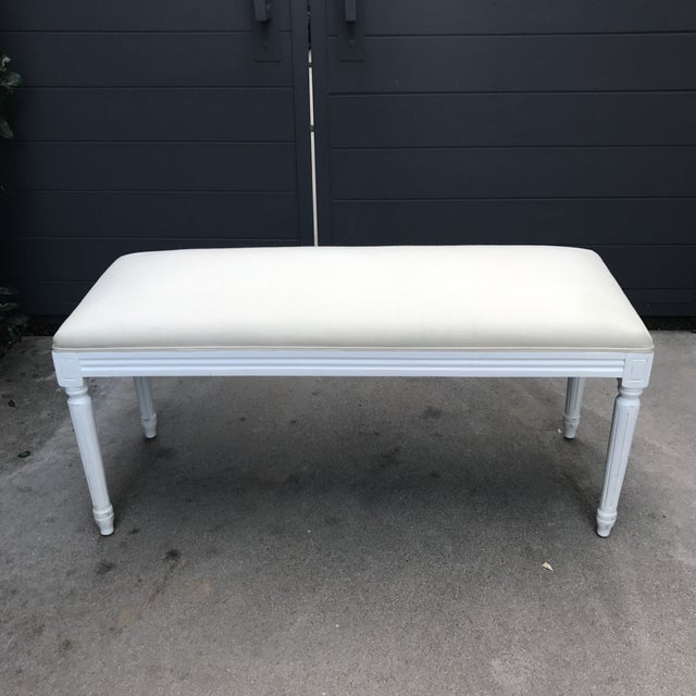 French Louis XV Style Linen Upholstered Bench For Sale - Image 3 of 11