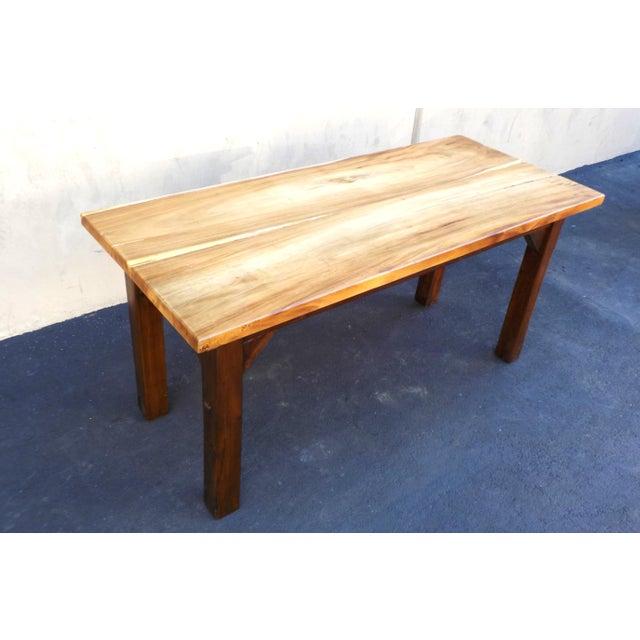 Rustic Wood Grain Slab Minimalist Dining Table Desk For Sale - Image 4 of 4