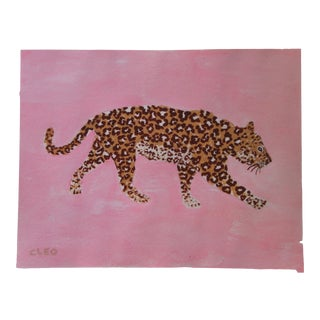 Chinoiserie Leopard on Pink by Cleo Plowden For Sale