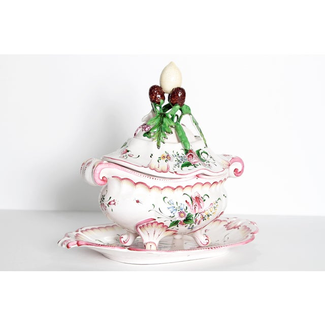 Rococo A Large French Faience Tureen With Platter For Sale - Image 3 of 11
