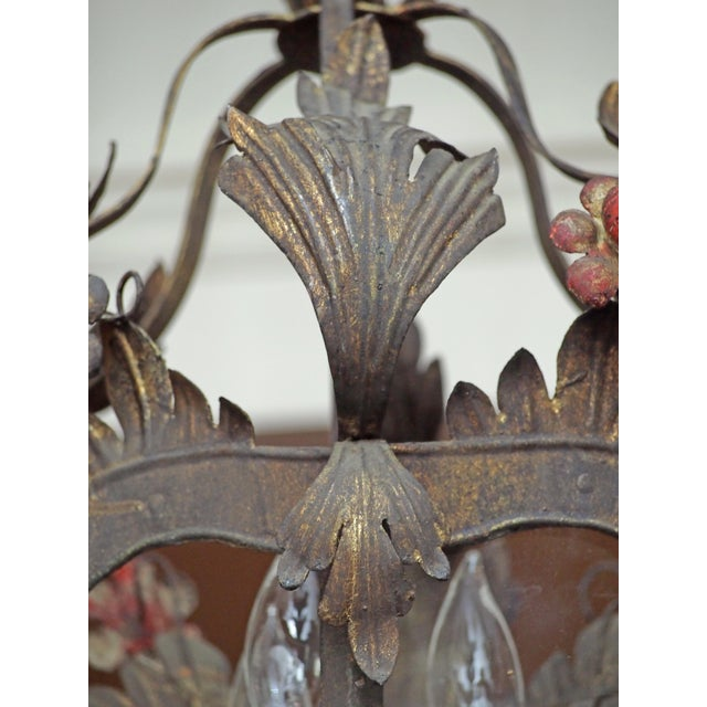 Early 20th Century Italian Tole Lantern with Acanthus Leaves and Flowers For Sale - Image 5 of 5