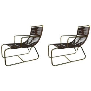 Vintage Mid Century Sleigh Chairs- A Pair For Sale
