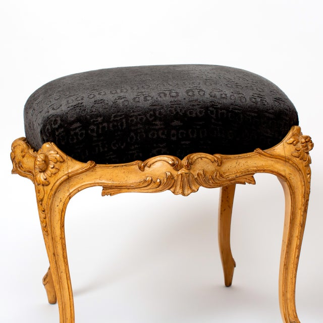 This gorgeous pair of Venetian-Style Footstools is covered in Hunt's glamorous black cut velvet Guardian fabric got...