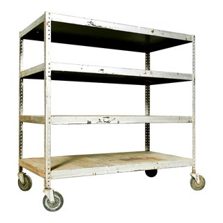 Industrial Metal Rolling Shelving Cart For Sale