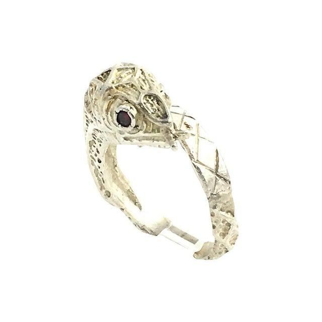 Etched Sterling & Garnet Snake Ring For Sale - Image 4 of 6