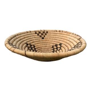 Vintage Hand Woven Boho Coil Basket For Sale