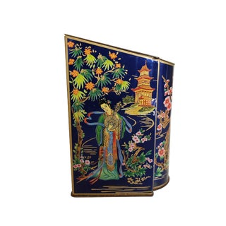 Vintage Mid-Century Chinoiserie Tea Tin Container For Sale