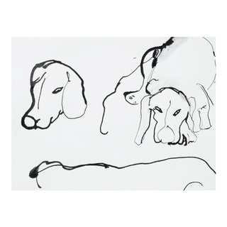 Dogs Ink on Paper Drawing For Sale