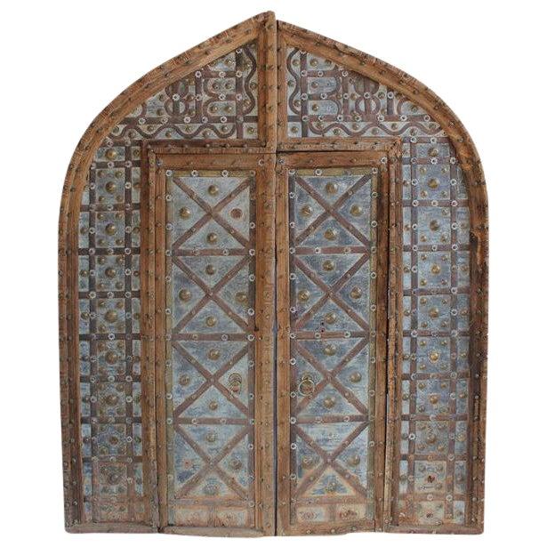 Rustic Antique Metal Work Indian Door For Sale