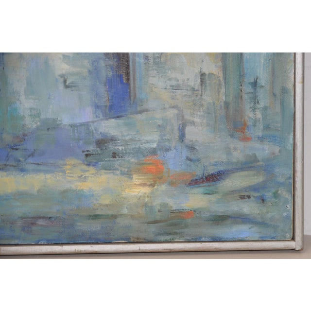 Mid Century Modern Abstract Cityscape by Mary Carey c.1950s For Sale - Image 4 of 7