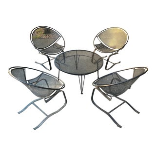 Set of Four Salterini Radar Lounge Chairs and Coffee Table For Sale