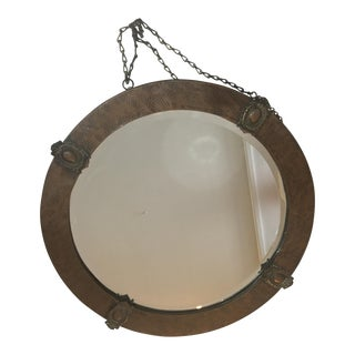 Arts & Crafts English Hammered Copper Mirror