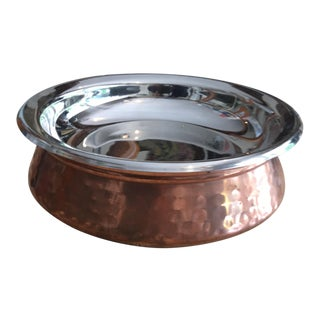 Copper Hammered Bowl With Silver Lid