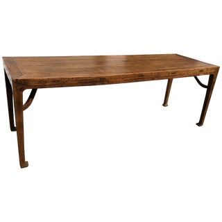 Chinese Calligraphy Elm Table / Sofa Table For Sale