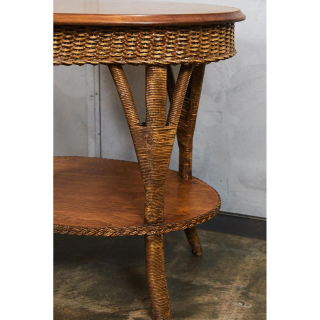 Traditional 1930's Wicker Table For Sale - Image 3 of 8