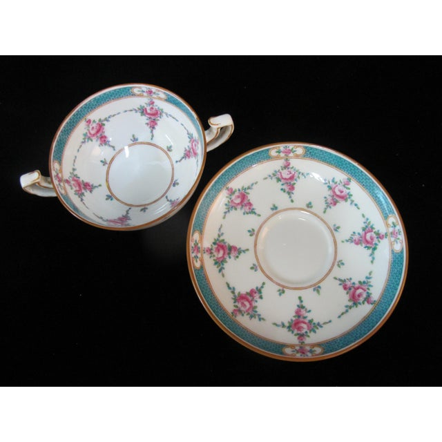 Ceramic Minton China Persian Rose Bouillon Soup Cups & Saucers - Set of 6 For Sale - Image 7 of 8