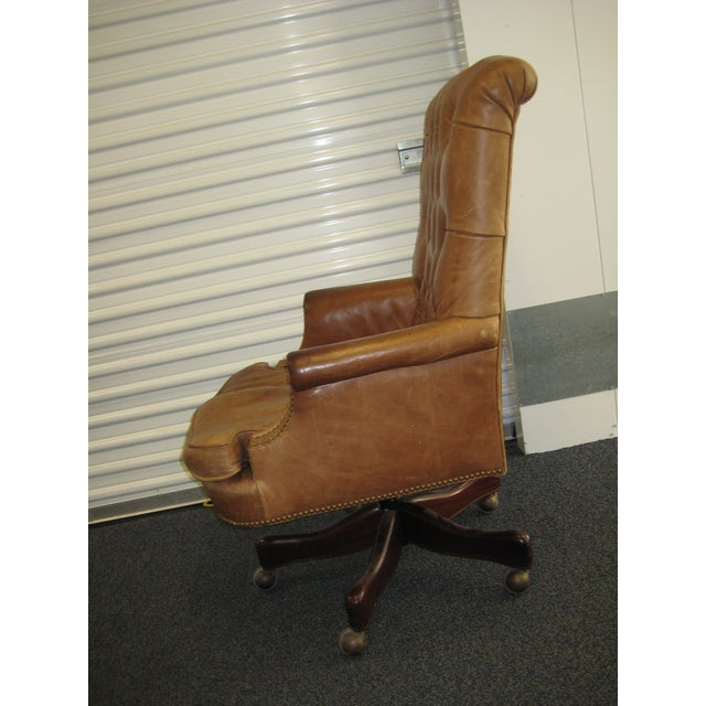 Hickory Chair Leather Desk Original Owner Used In Our Home Office Tufted High
