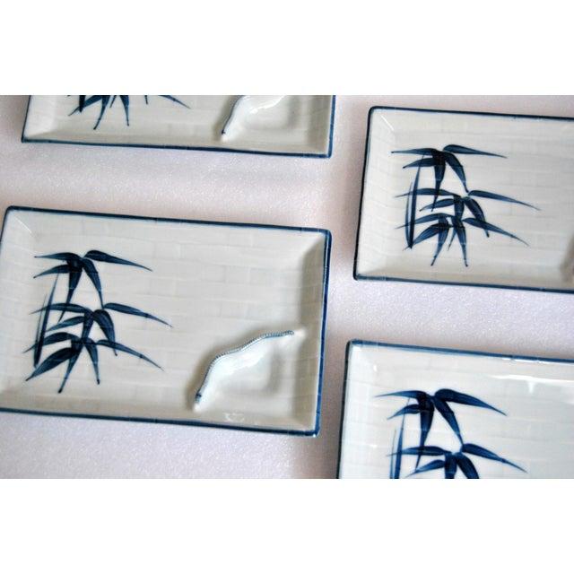Blue & White Celadon Yakizara Japanese Divided Plates - Set of 4 For Sale In Salt Lake City - Image 6 of 8