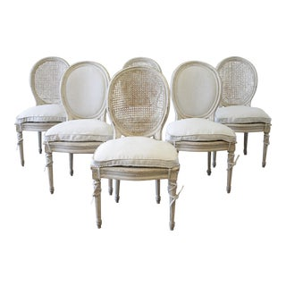 20th Century Louis XVI Painted Cane Back and Upholstered Dining Chairs - Set of 6 For Sale