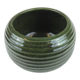 Clay Ribbed Glazed Green Planter For Sale