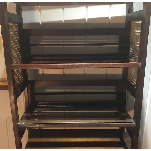3 Tier Cane and Wood Shelving Unit For Sale In Dallas - Image 6 of 13
