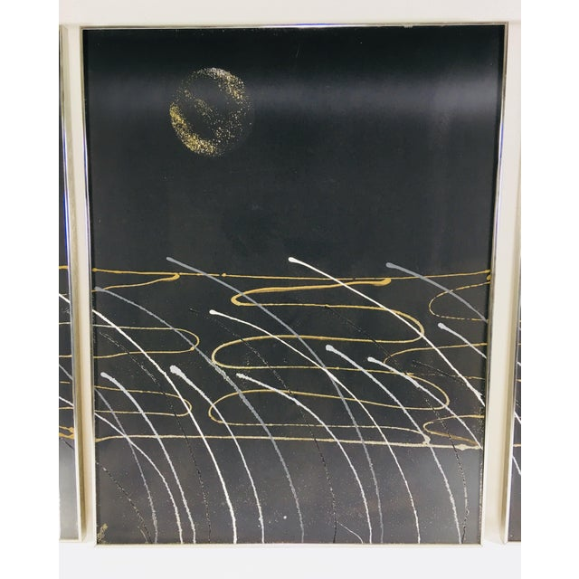 Abstract Mid-Century Three Panel Oil Painting on Canvas - 3 Pc. For Sale - Image 3 of 8
