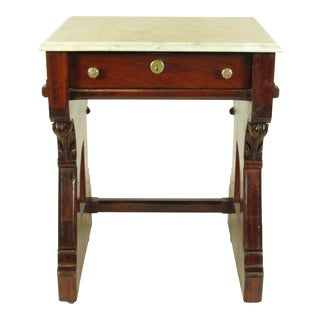 19th-Century American Gothic Marble Top Mahogany Library Table For Sale