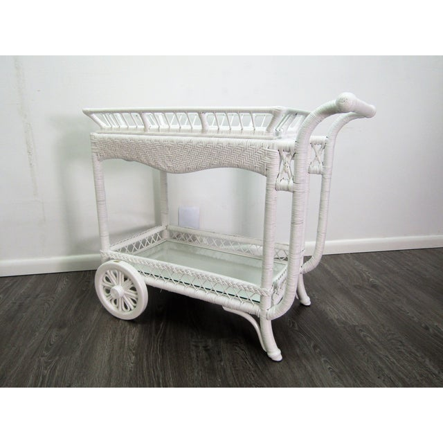 1940's Wicker Bar Cart in White Lacquer For Sale - Image 10 of 10