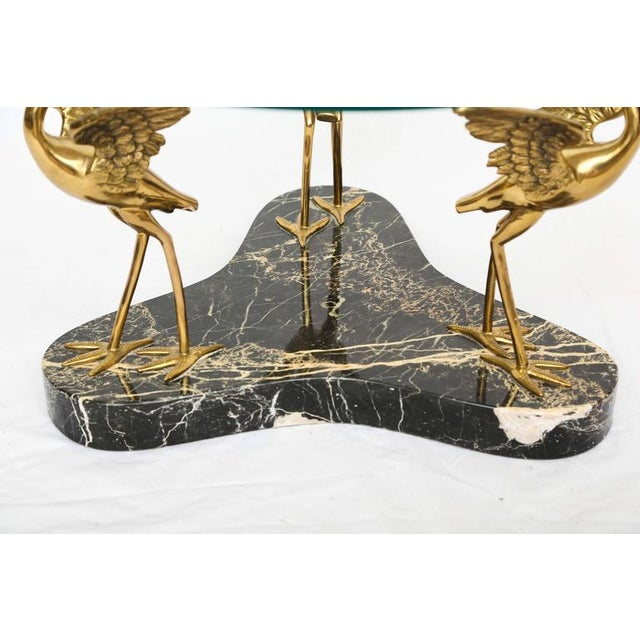 1970s Round Marble and Brass Birds Coffee Table For Sale - Image 5 of 7