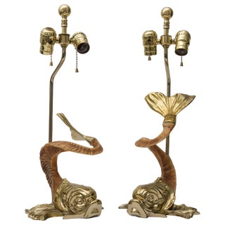 1970s Dolphin-Form Gold Table Lamps by Chapman Manufacturing - a Pair For Sale