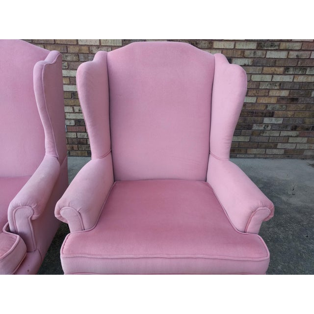 Vintage Queen Anne Pink Velvet Wingback Chairs by Sam Moore Furniture - A Pair - Image 7 of 11