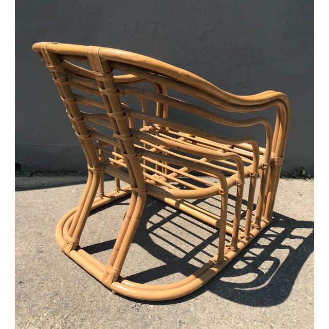 Boho Chic 1970's Vintage Rattan Lounge Chair For Sale - Image 3 of 8