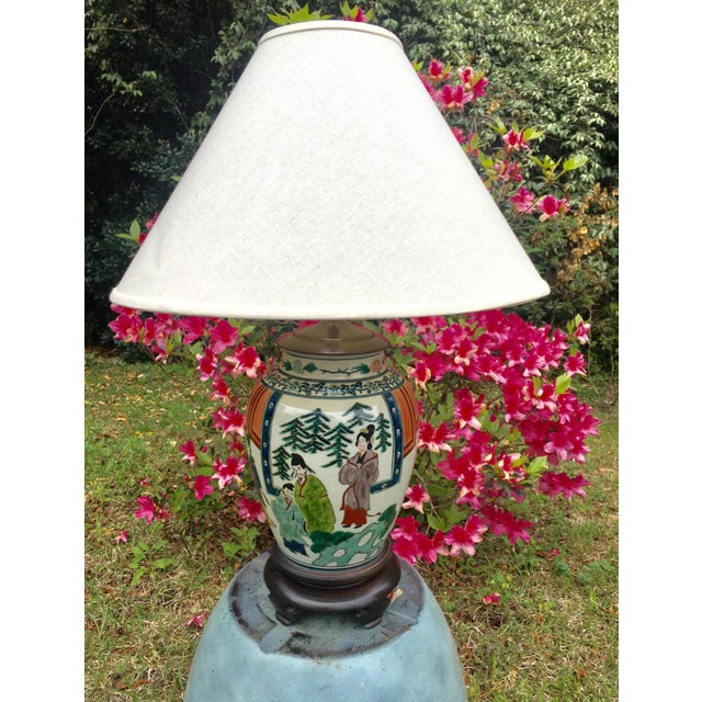 1970s Antique Hand Painted Ginger Jar Lamp For Sale - Image 5 of 5