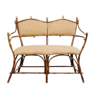 English Edwardian Period Bamboo Settee with Upholstered Back and Seat