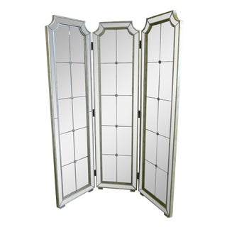 20th Century Decorative 3-Panel Framed and Mirrored Screen