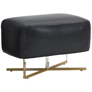 Modern Lexington Polished Acrylic Bleecker Leather Bed Ottoman For Sale