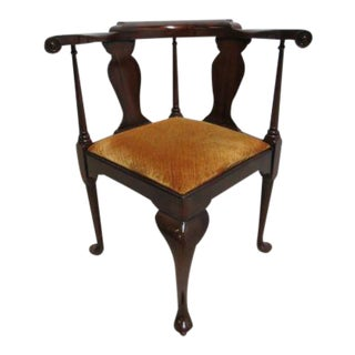 Vintage Henkel Harris Queen Anne Mahogany Horse Shoe Corner Chair