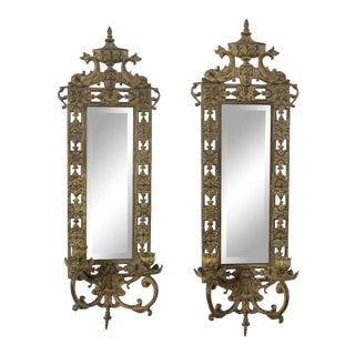 Late 20th Century Brass Beveled Mirror Candle Sconces - a Pair For Sale